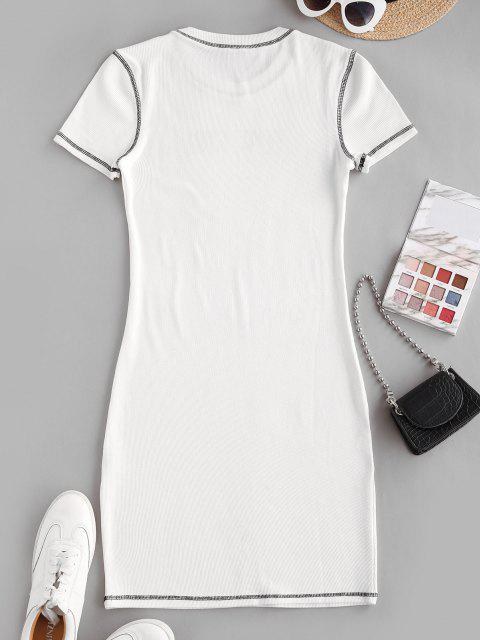 online Ribbed Topstitch Cow Girl Graphic Bodycon Dress - WHITE S Mobile