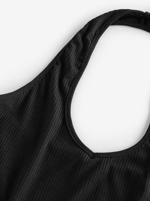 affordable ZAFUL Ribbed Halter Crop Top - NIGHT L Mobile