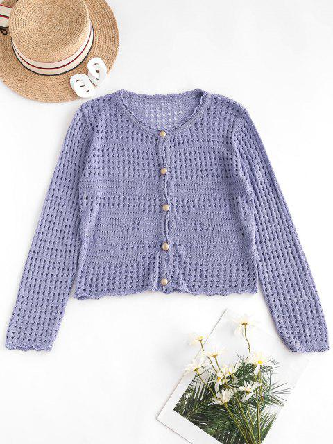 ladies Open Knit Pearly Button Up Cardigan - LOVELY PURPLE ONE SIZE Mobile