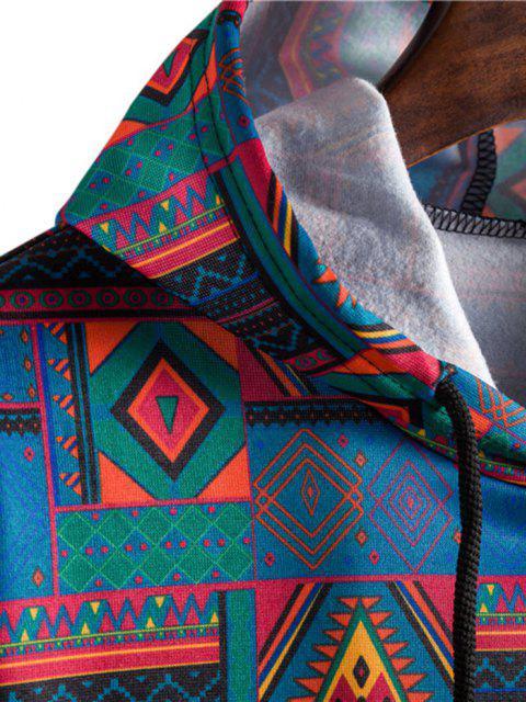 unique Tribal Geometric Pattern Flocking Hoodie - MULTI-A XL Mobile