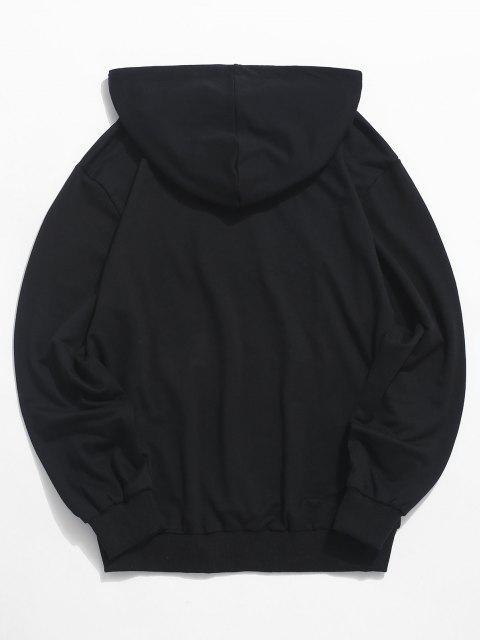 Sweat à Capuche LettreGraphiqueAstronaute Imprimée avec Poche Kangourou - Noir XL Mobile