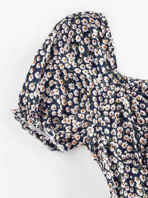 ZAFUL Robe de Laitière Fleurie Imprimée avec Nœud Papillon - Bleu profond S Mobile