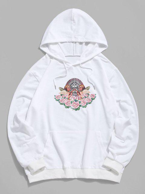 fashion Kangaroo Pocket Flowers Print Renaissance Art Hoodie - WHITE L Mobile