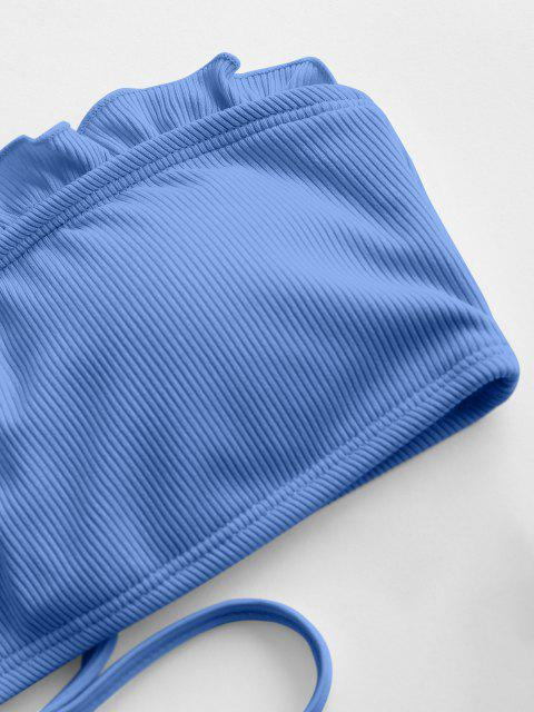 womens ZAFUL High Cut Frilled Bandeau Ribbed Bikini Swimwear - BLUE S Mobile
