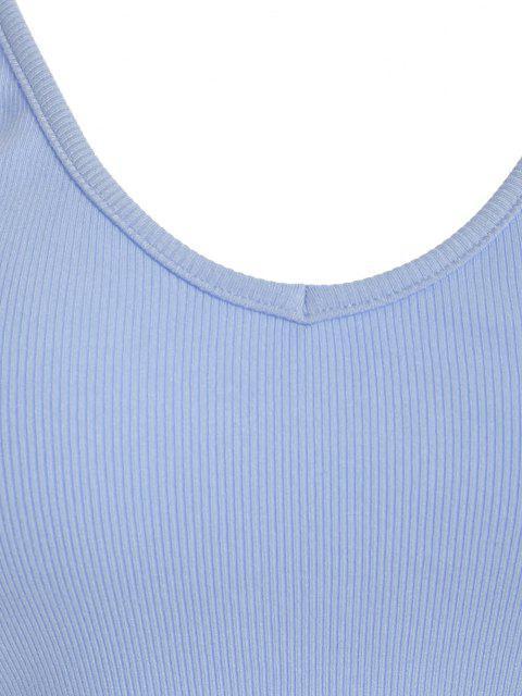 ZAFUL Haut Court Côtelé sans Dos à Bretelle - Bleu Pastel S Mobile