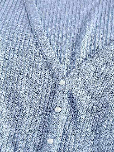 outfits ZAFUL Ribbed Knit Crop Cardigan - PASTEL BLUE S Mobile
