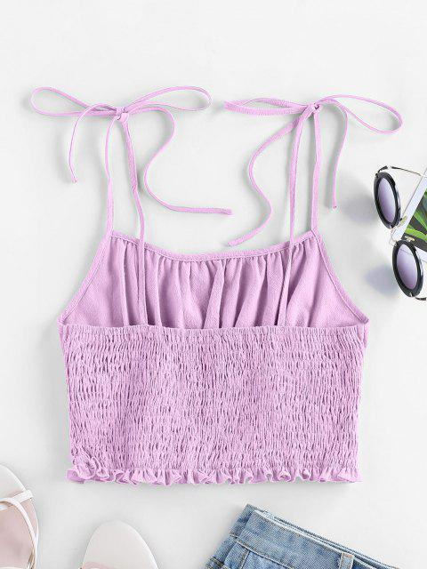 shops ZAFUL Tie Strap Ruched Smocked Cami Top - MAUVE M Mobile