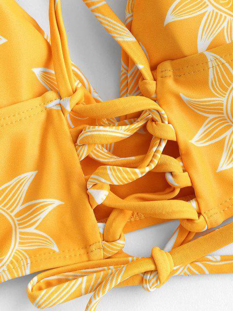 Bikini Stampa Sole e Luna con Lacci di ZAFUL - Giallo M Mobile