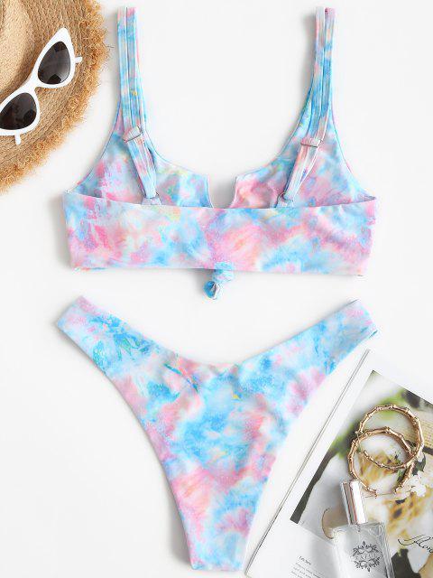 new ZAFUL Tie Dye Knotted High Leg Tank Bikini Swimsuit - MULTI S Mobile