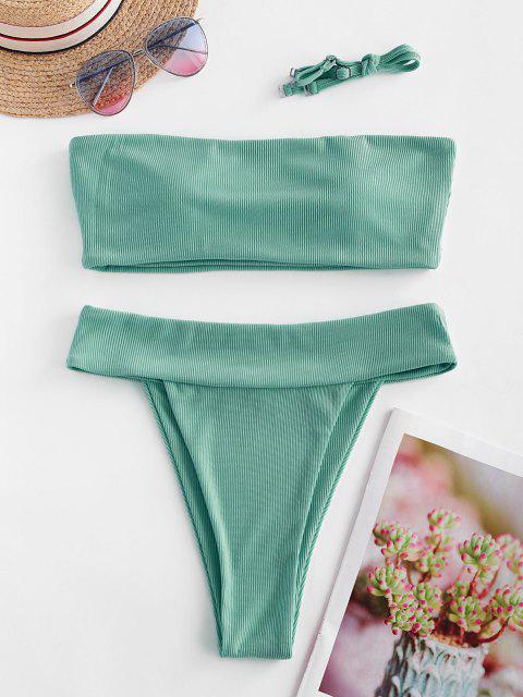 chic Emma MacDonald x ZAFUL Ribbed High Leg Bandeau Bikini Swimsuit - SEA TURTLE GREEN S Mobile