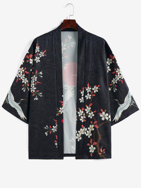 hot ZAFUL Floral Red Sun Flying Crane Print Kimono Cardigan - BLACK 2XL Mobile