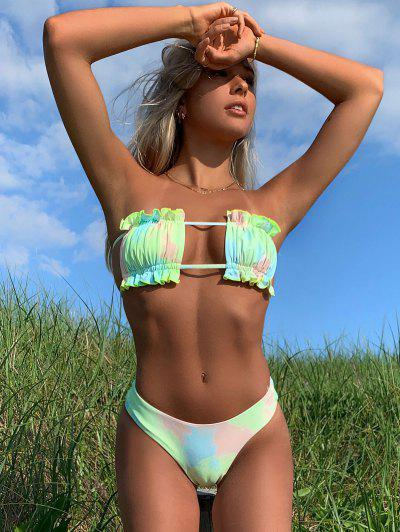 Emma MacDonald X ZAFUL Tie Dye Bandeau Frilled High Cut Bikini Swimwear - Multi-a S