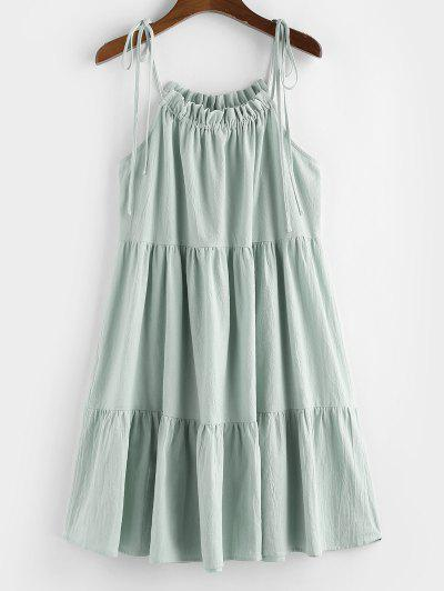 ZAFUL Tie Strap Frilled Tiered Cami Dress - Light Green M