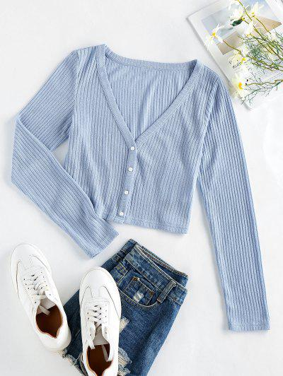 ZAFUL Ribbed Knit Crop Cardigan - Pastel Blue S