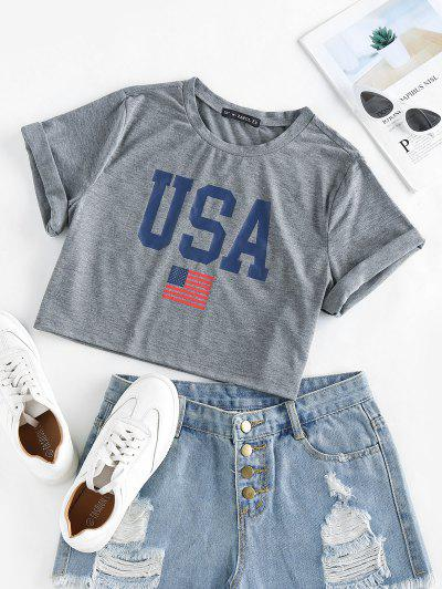 ZAFUL Patriotic American Flag USA Graphic Crop T-shirt - Light Gray L