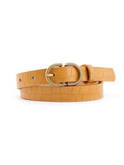 Animal Embossed Leather Buckle Belt - Deep Yellow