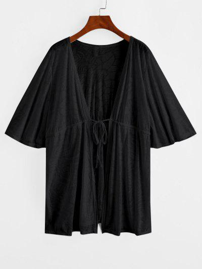 Drawstring Plunge Kimono Beach Cover Up - Black