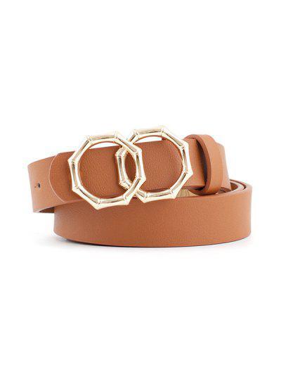 Retro Bamboo Shape Double Ring Decorative Belt - Marrom Claro