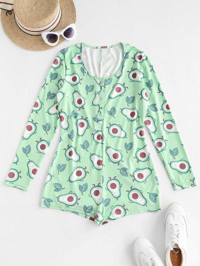 Snap Button Vitamin Fruit Print Pajamas Romper - Aquamarine L