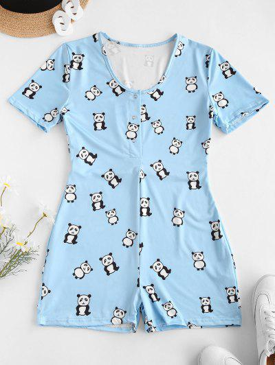 Snap Button Panda Print Pajamas Romper - Blue Ivy S