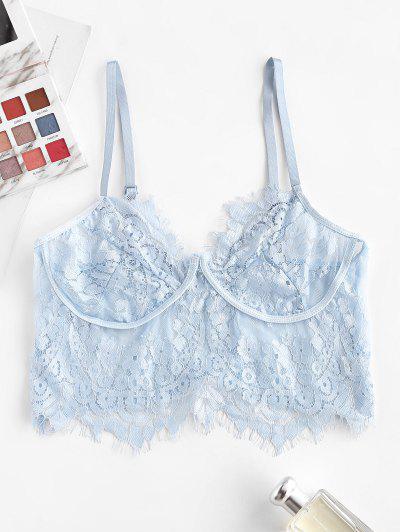 Flower Eyelash Lace Bralette Lingerie Bra - Light Blue S