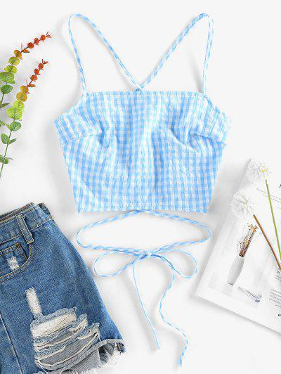 ZAFUL Criss Cross Lace Up Gingham Cami Top - Baby Blue S