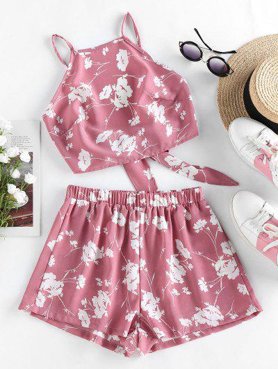 ZAFUL Flower Print Knot Cami Two Piece Set - Lipstick Pink M