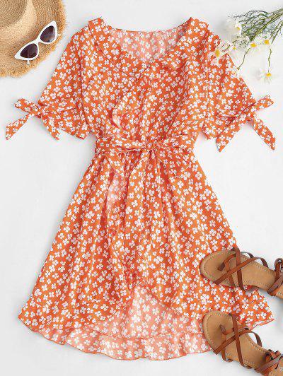Flower Ruffle Belted Tie Cuffs Dress - Orange M