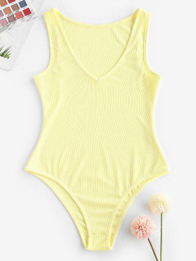 Ribbed Plunging High Cut Tank Bodysuit - Light Yellow S