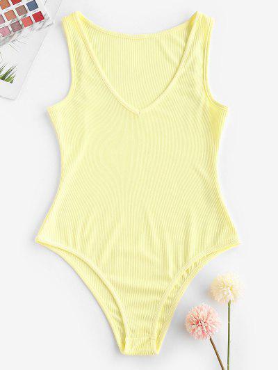 Ribbed Plunging High Cut Tank Bodysuit - Light Yellow M