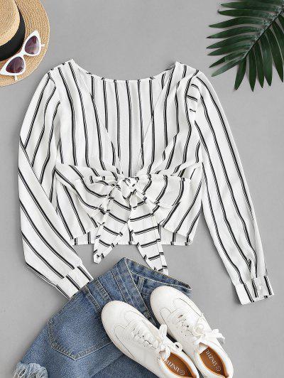 Deschideți Înapoi înnodate Stripes Bluză - Alb L