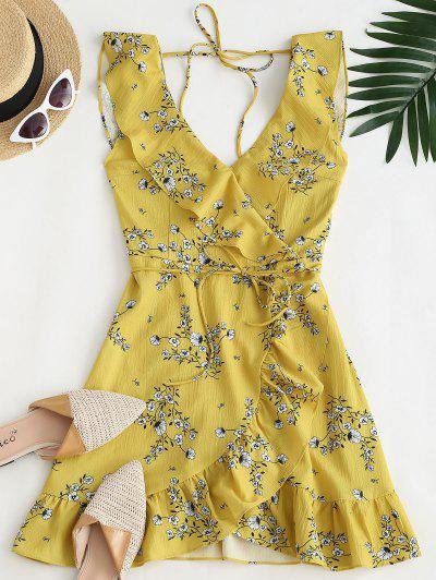 Tiny Floral Tie Back Belted Ruffles Dress - Deep Yellow M