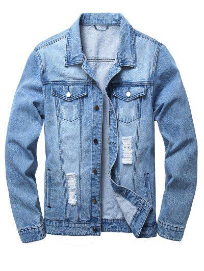 Ripped Flap Pockets Denim Jacket - Light Blue Xl