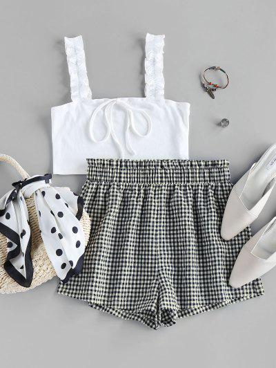 ZAFUL Ribbed Crop Top And Checked Shorts Two Piece Set - Milk White S