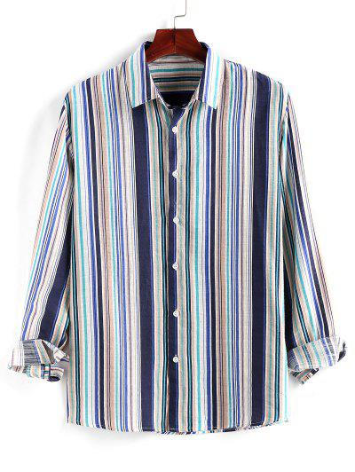 ZAFUL Striped Print Button Up Long Sleeve Shirt - Multi Xl