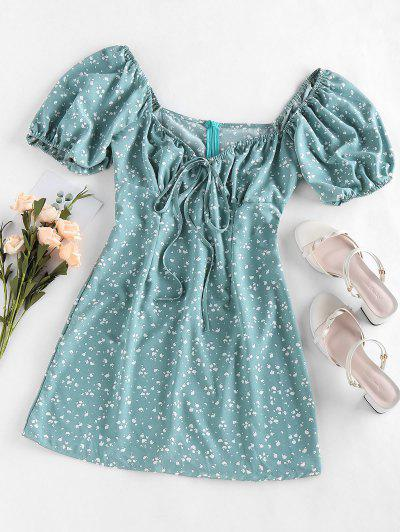 ZAFUL Cow Print Bowknot V Neck Mini Dress - Light Green M