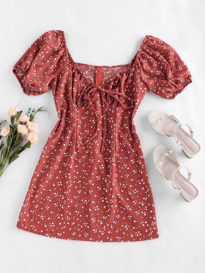 ZAFUL Cow Print Bowknot V Neck Mini Dress - Cherry Red Xl