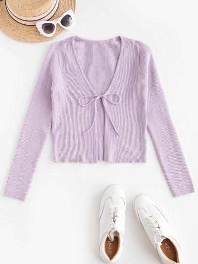 ZAFUL Tie Front Ribbed Solid Cardigan - Light Purple M