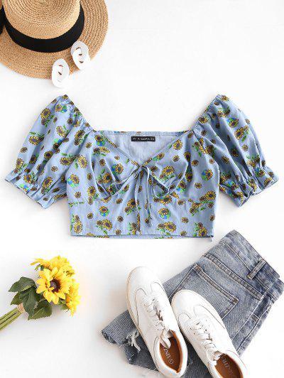 ZAFUL Sunflower Puff Sleeve Tie Milkmaid Blouse - Light Blue S