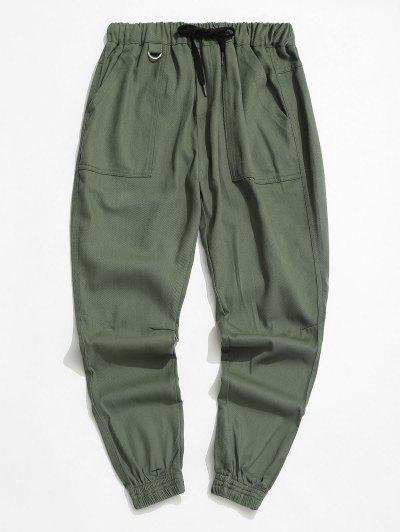 Drawstring Letter Applique Tapered Casual Pants - Army Green S