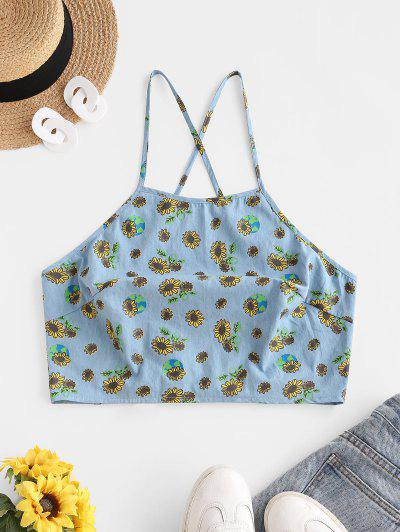 ZAFUL Sunflower Chambray Lace-up Crop Cami Top - Light Blue L