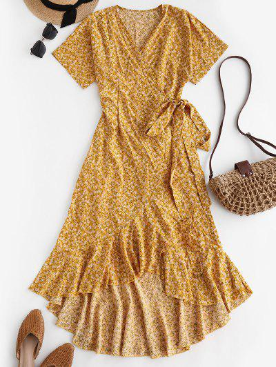 Ditsy Print Ruffle Wrap Dress - Yellow S