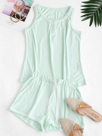 Half Buttoned Lounge Top And Sweat Shorts Set - Light Green M
