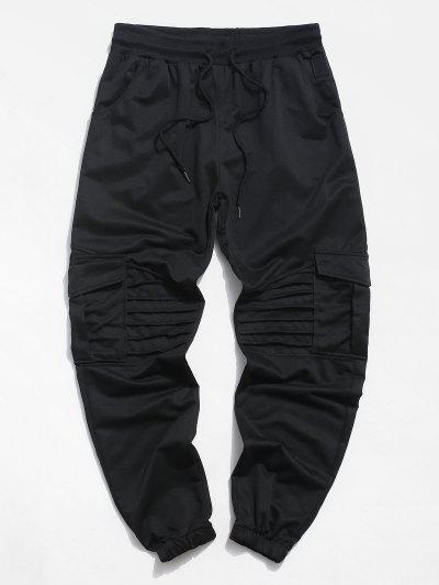 Pleated Drawstring Cargo Jogger Pants - Black L