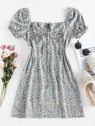 ZAFUL Tiny Floral Print Bowknot Milkmaid Dress - Light Green S