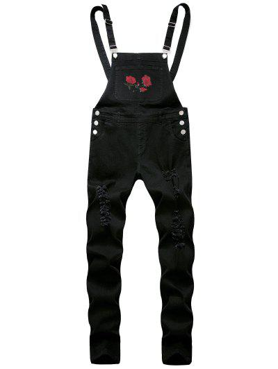 Flower Embroidered Ripped Tapered Overall Jeans - Black 32