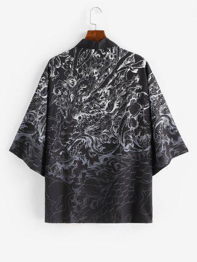 Open Front Dragon Graphic Kimono Cardigan - Silk White M