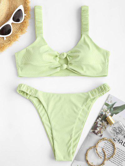 ZAFUL Ribbed Knotted Keyhole High Leg Bikini Swimwear - Light Green M