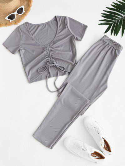 Ribbed Cinched High Waisted Pants Set - Gray M