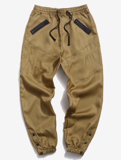 Mock Zipper Pocket Button Casual Jogger Pants - Khaki 2xl